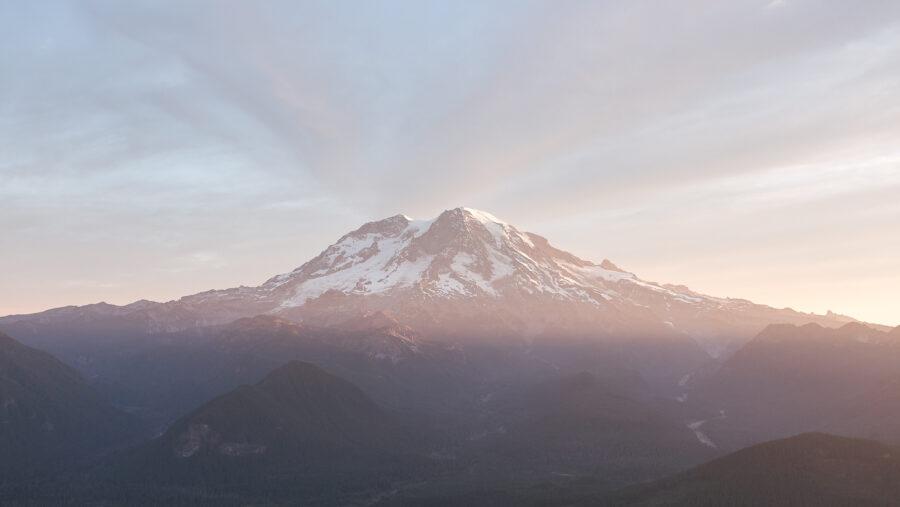 Pastel colors in morning over Mt Rainier peak